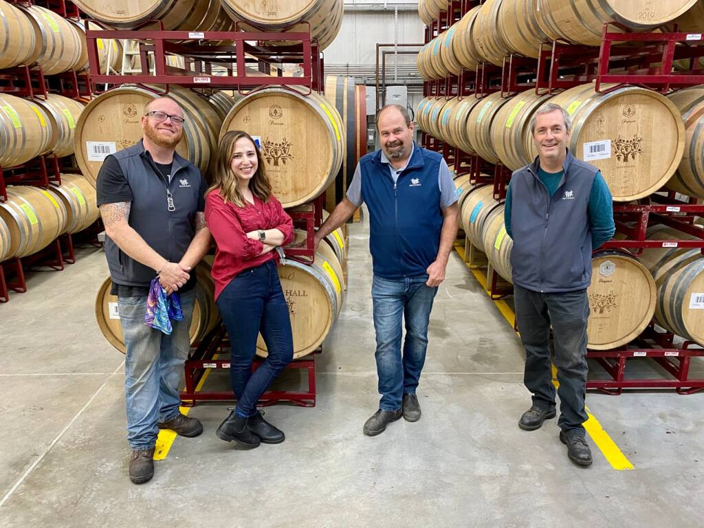 Patz & Hall founder and head winemaker James Hall, third from left, with Ross Outon, Jasmine Daniel and Tom Klassen.