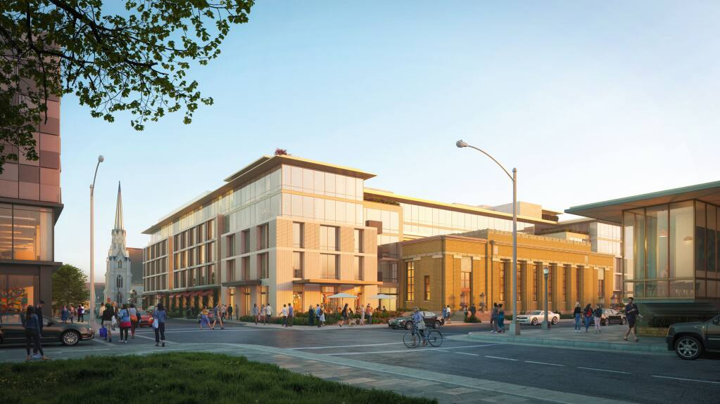 Architectural renderings were revised in 2020 for the Franklin Station Hotel project in downtown Napa to simplify the look and better showcase the front of the old historic post office.