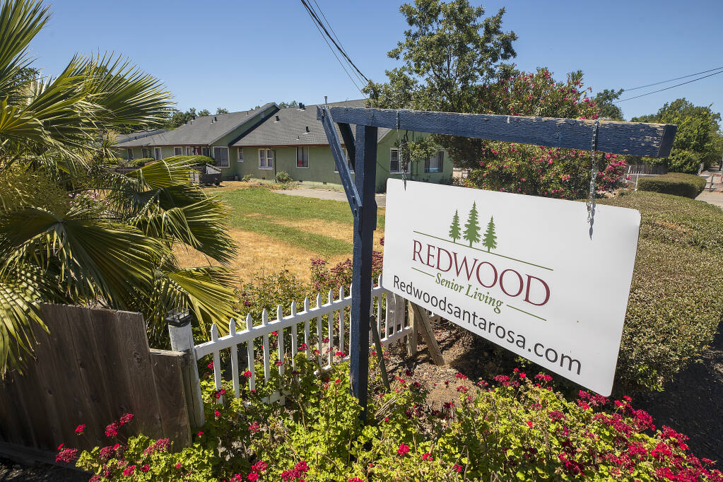 Redwood Senior Living in the Roseland district of Santa Rosa was red-tagged last Wednesday for unsafe and unsanitary conditions. The facility was formerly called St. Francis Assisted Living and experienced a bad COVID-19 outbreak last year. (Photo by John Burgess/The Press Democrat)