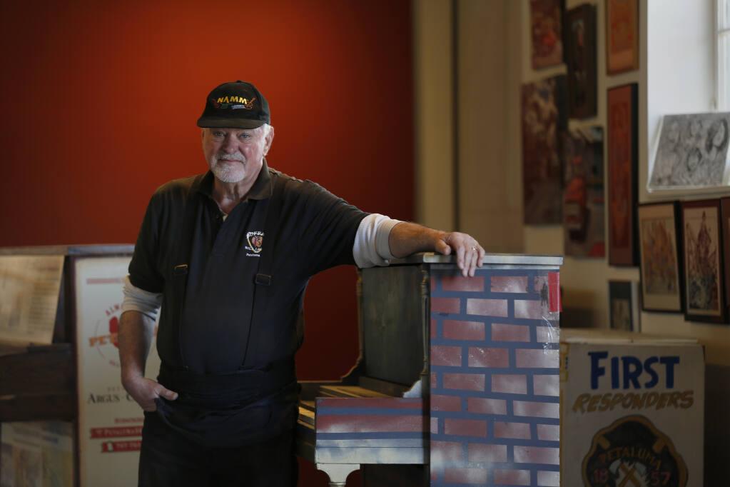 "John Maher, also known as ""Petaluma Pete,"" has organized the exhibit titled ""Pianos of Petaluma"" at the Petaluma Arts Center. Photo taken in Petaluma on Wednesday, March 24, 2021. (Beth Schlanker/ The Press Democrat)"