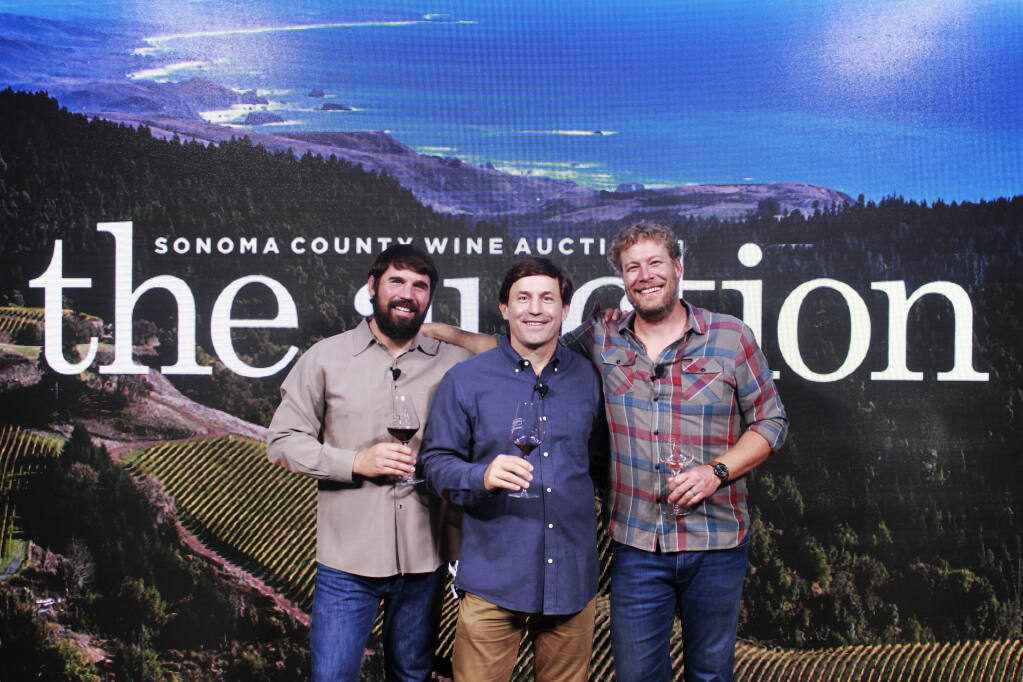 Honorary Chairs Clay Mauritson of Mauritson Wines, Jake Bilbro of Limerick Lane Cellars and Mark McWilliams of Arista Winery helped raise more than  $1.17 million for the 2020 Sonoma County Wine Auction. Of that, $726,000 will help bridge the educational digital divide the county is grappling with due to COVID-19. (Sonoma County Vintners Foundation)