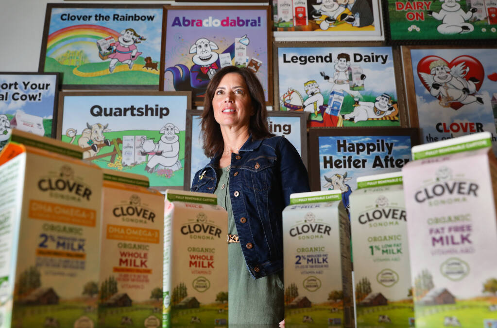 Kristel Corson is the chief revenue officer of Clover Sonoma, which has ramped up a large-scale effort at its dairy processing facility to reduce its carbon footprint. Part of that effort includes the use of fully renewable milk cartons. (Christopher Chung/ The Press Democrat)