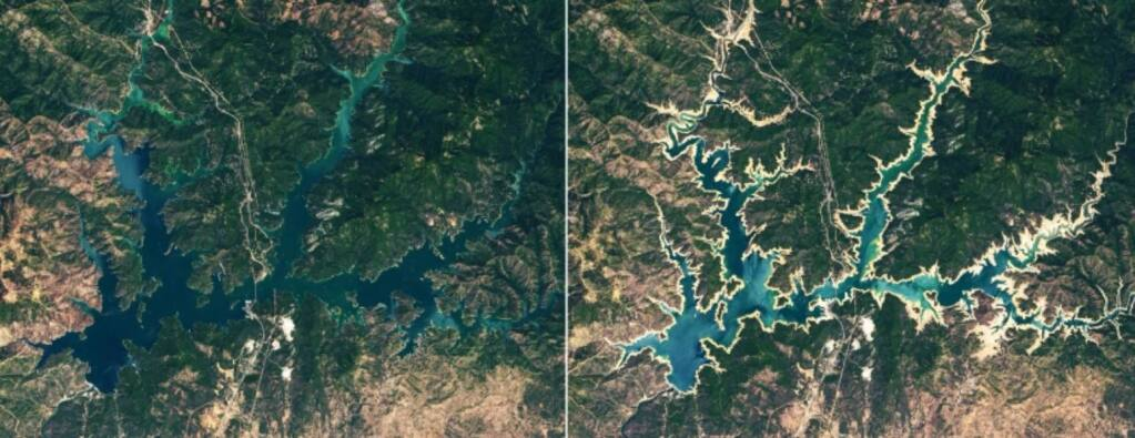 Satellite imagery shows Shasta Lake in July 2019, left, and June 2021. The state's largest reservoir is at about 35% of its capacity, officials said. (NASA)