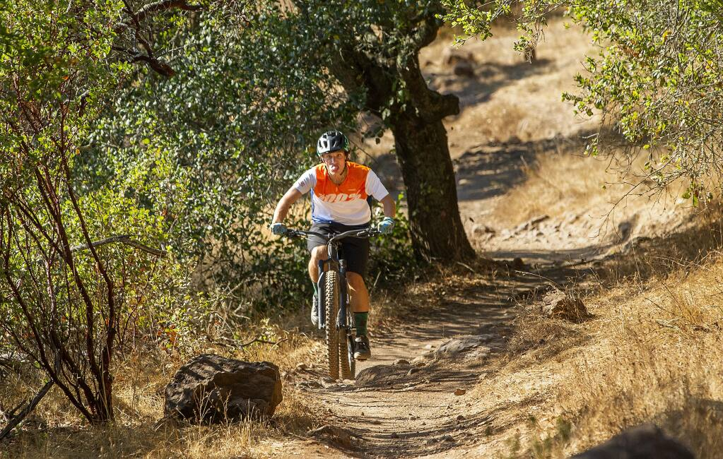 Henry Kullberg makes his way up a trail at Annadel State Park on Wednesday, July 22, 2020. The Great American Outdoors Act approved by Congress on Wednesday guarantees $900 million a year for local parks, pools and other recreational assets, including some of Sonoma County's Annadel State Park. (John Burgess/The Press Democrat)