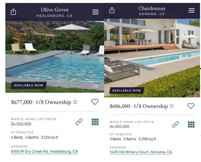 Pacaso's two Sonoma County listings as seen on the company website on June 3, 2021.