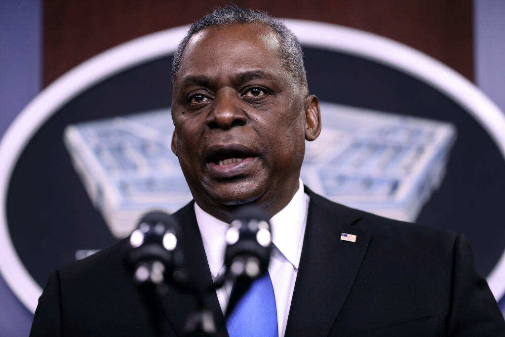 FILE — Defense Secretary Lloyd Austin speaks to reporters at the Pentagon in Arlington, Va., on Feb. 10, 2021. Austin is introducing a number of diversity and inclusion policies to the military.  (Oliver Contreras/The New York Times)