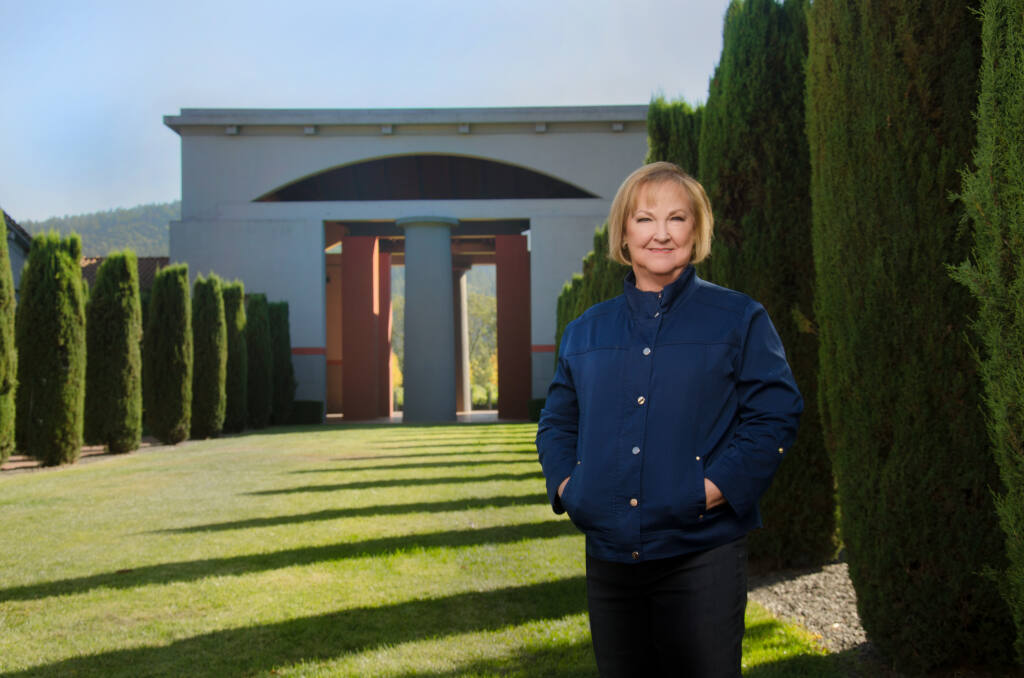 Terry Wheatley is president of Vintage Wine Estates, which owns Napa Valley's Clos Pegase Winery, shown behind her. (Dan Mills photo)