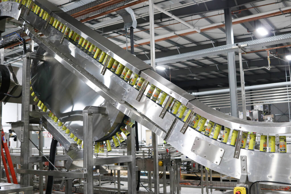 Cans of wine move through the high-speed filling line in Free Flow Wines' Sonoma production facility. (courtesy of Free Flow Wines)