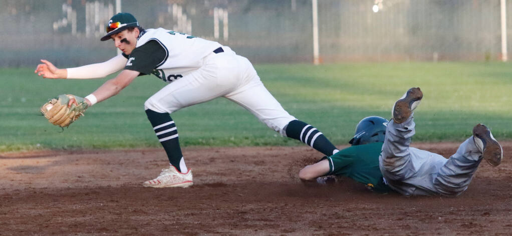 Sonoma second baseman Nolan Verdu forces a Casa runner during the Wednesday, April 21, game. It was the opening game for the Dragons, but their season debut was spoiled by Casa as the Gauchos won 7-0 as the Dragons managed only three hits. (Bill Hoban/Special to the Index-Tribune)