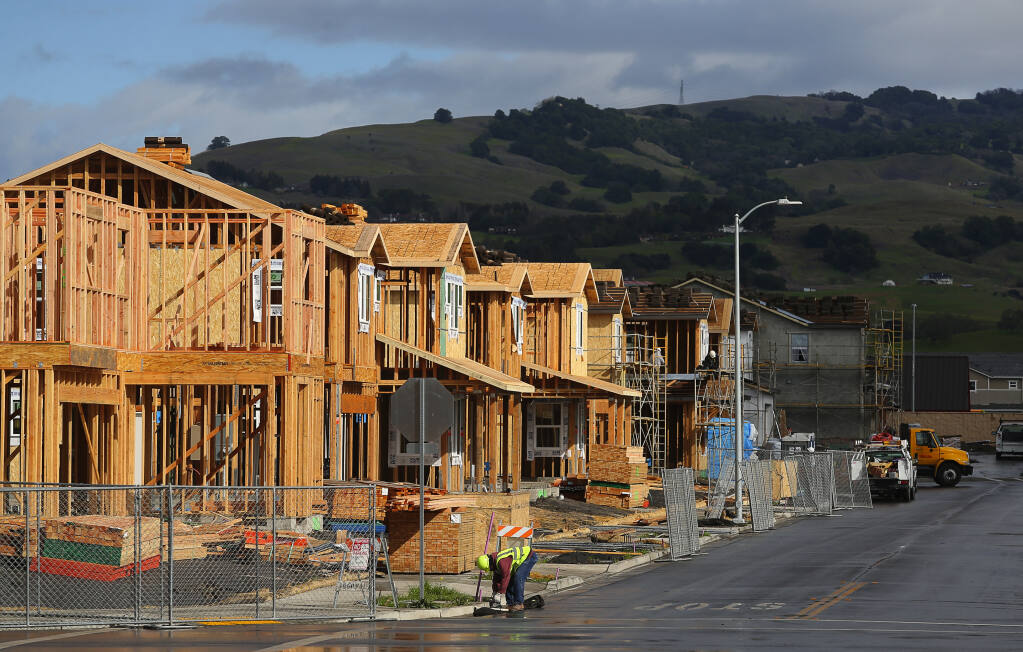 A row of homes under construction in the University District in Rohnert Park. (CHRISTOPHER CHUNG / The Press Democrat, 2018)