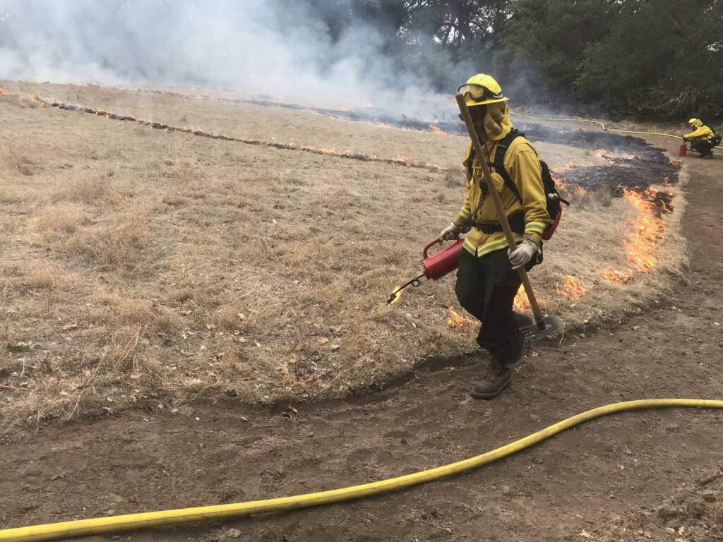 Firefighters during a 'successful' prescribed burn at Jack London State Historic Park on Friday, Dec. 11, 2020.