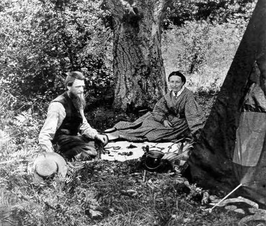 Joseph Kenny and Mrs. Bagley picnic on Fitch Mountain in 1852. (Sonoma County Library)