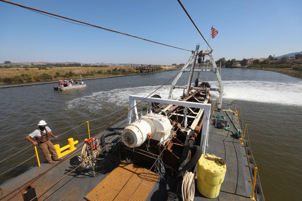 The Sandpiper cutter suction dredge is prepared to begin the dredging of the Petaluma River. (Christopher Chung / The Press Democrat)