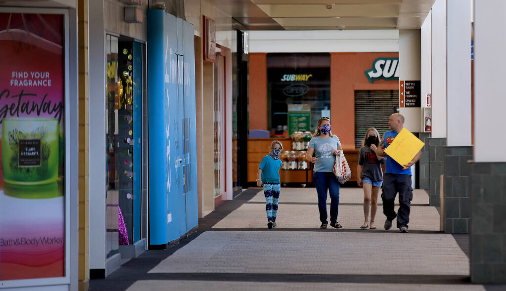 Shoppers at Coddingtown Mall in Santa Rosa in 2020. (Kent Porter / The Press Democrat)