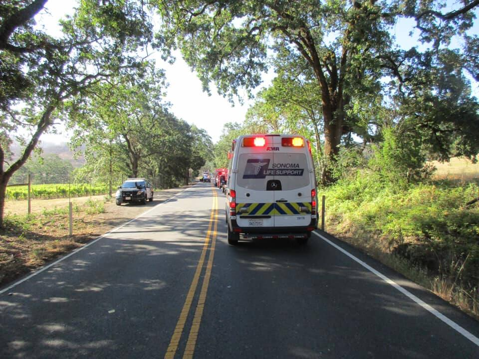 Emergency crews at the scene of the fatal crash on Calistoga Road, Tuesday, June 8, 2021. (CHP - Santa Rosa / Facebook)