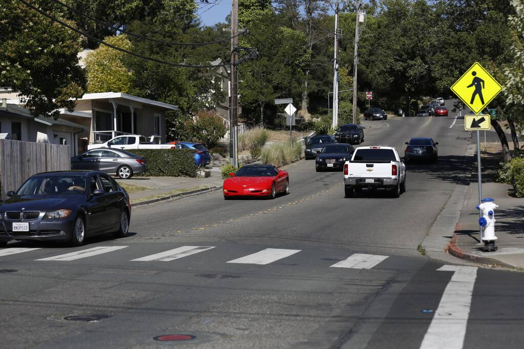 Cars travel on Chanate Road near Lomitas Avenue in Santa Rosa on Tuesday, July 28, 2020. (Beth Schlanker / The Press Democrat)