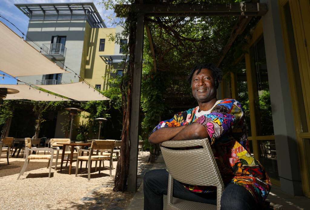 Marcus Shelby is the artistic director of Healdsburg Jazz. This year's Healdsburg Jazz Festival, June 17-20, will be held at various outdoor locations, including the Healdsburg Hotel.  (Christopher Chung/ The Press Democrat)