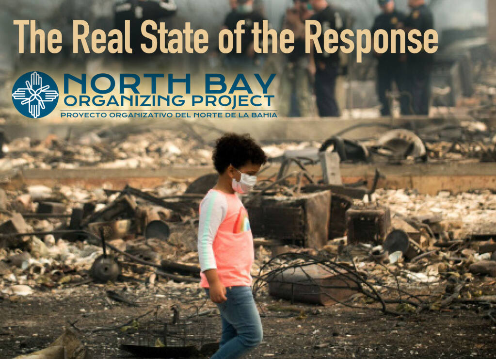 The report, presents the experiences of many undocumented, non-English speaking, and renting members of the community and how the County's response to the disasters left them out.  (Real State of Response brochure)