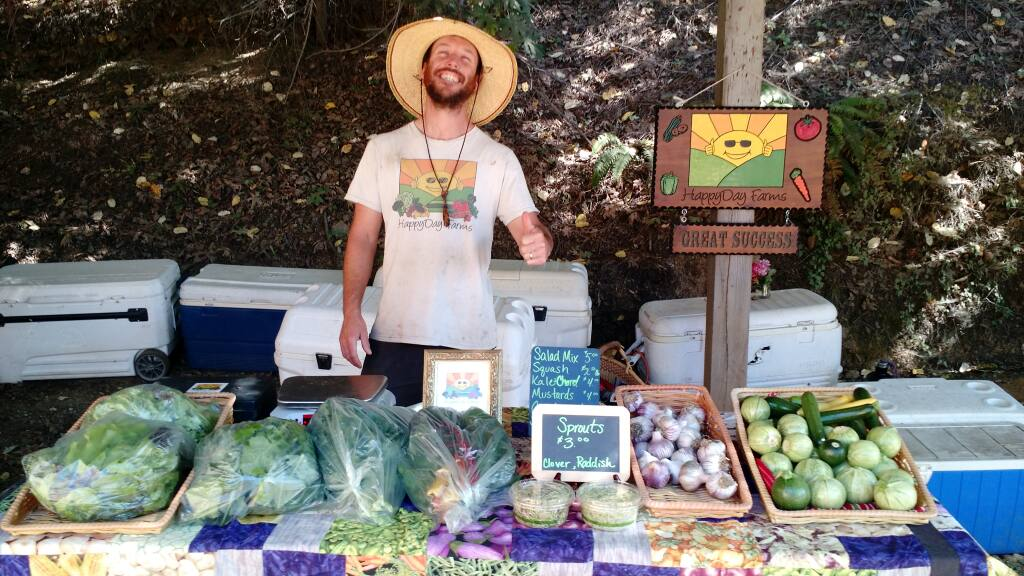 Happy Day Farms Bell Springs grower Casey O'Neill displays his cannabis and other produce at farmers' markets. (courtesy of Amber O'Neill)