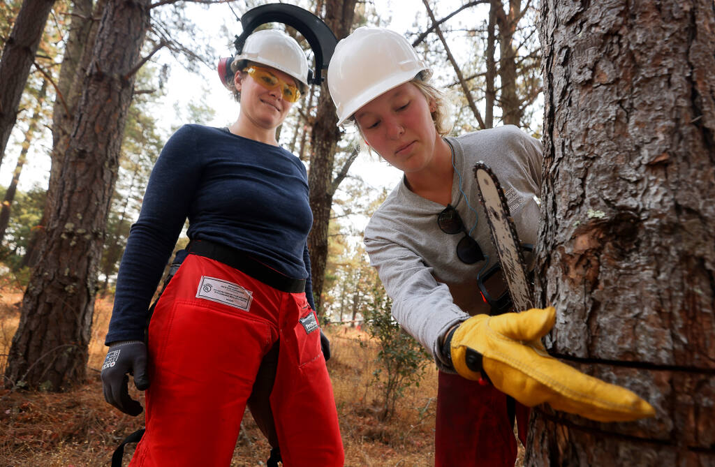 Annie Madden, restoration field supervisor at the Laguna de Santa Rosa, describes how to make the next cut to fell a tree to Wildfire Resiliency program student intern Amy Connor, left, at Shone Farm, near Forestville, on Friday, August 27, 2021.    (Christopher Chung/ The Press Democrat)