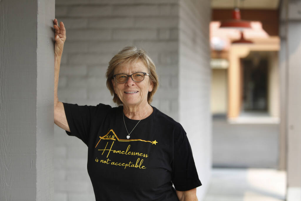 Annie Falandes, founder of Homeless Action Sonoma,  in Sonoma, Calif., on Thursday, August 19, 2021.(Beth Schlanker/The Press Democrat)
