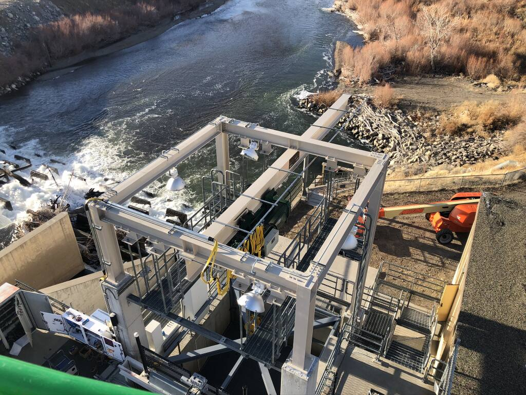 SH Mechanical upgraded the 15-ton elevator and gantry at the Marble Bluff Fish Passage at Pyramid Lake in Nevada. (courtesy photo)