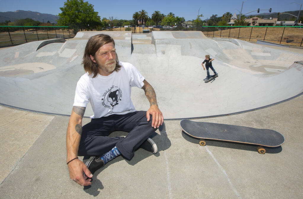 Sonoman Nicholas Koerner at the skate park on the corner of Highway 12 and Verano Avenue on  Wednesday, July 14, 2021. Koerner is spearheading a drive to remodel the skate park in Maxwell Farms Regional Park. (Photo by Robbi Pengelly/Index-Tribune)