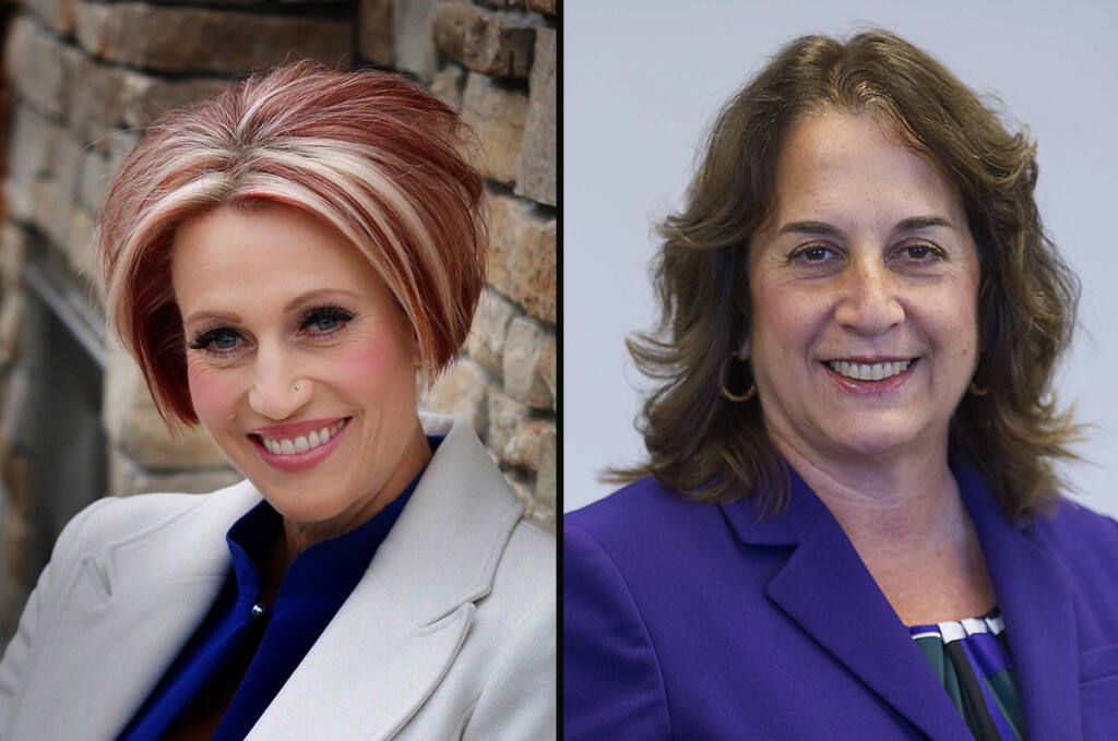 Candidates for Sonoma County Office of Education, board of trustees. Left, challenger Dianna MacDonald; at right, incumbent Gina Cuclis.