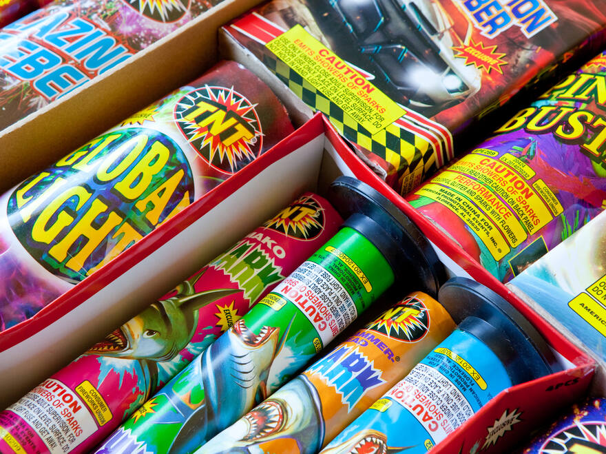 A collection of safe and sane fireworks ready for use in a home fireworks display on July 4, 2016 in Gilroy, California. (Matthew Corley/Shutterstock)