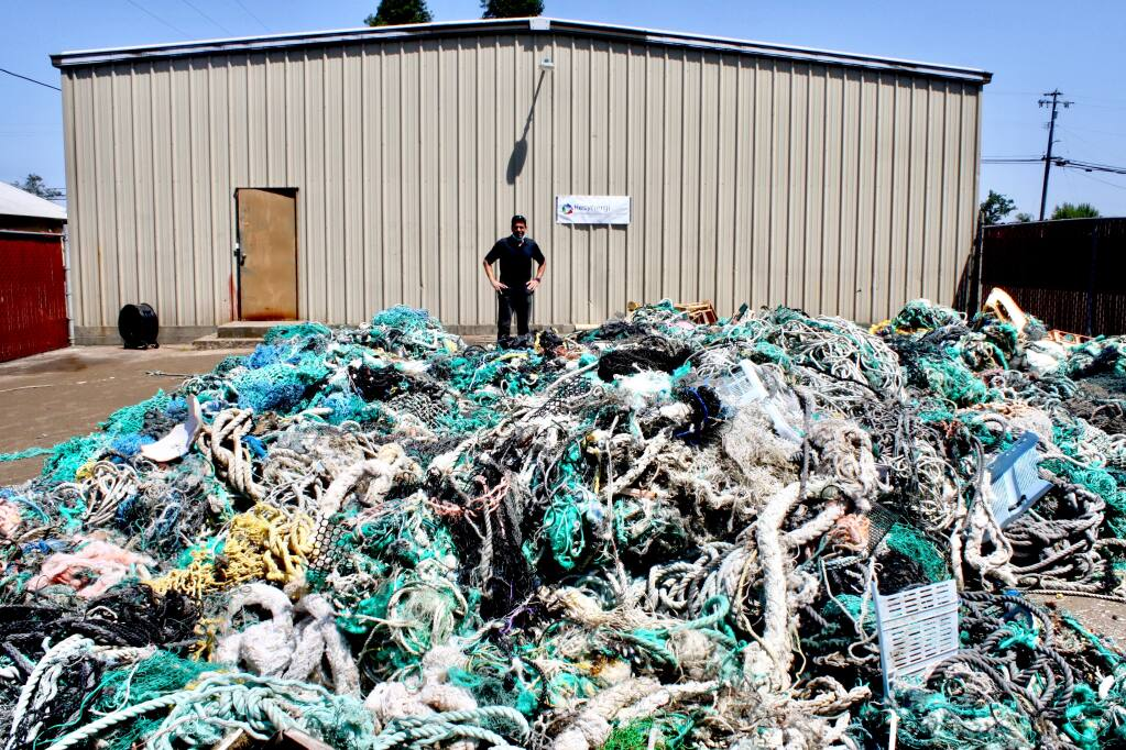 Tons of fishing nets and other plastic waste material collected in the Pacific Ocean await recycling at Resinergi, Inc.'s facility in Santa Rosa co-founded by CEO Brian Bauer. (courtesy photo)