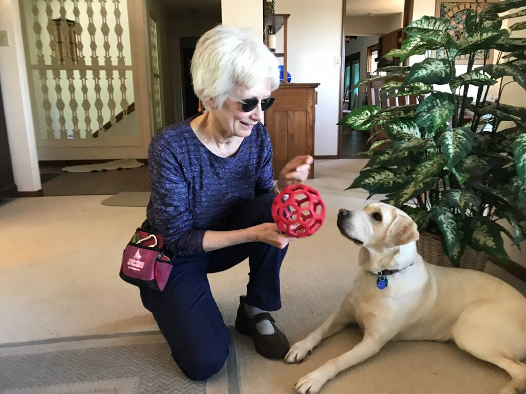 """Jan Molen with her guide dog, Babe. """"I call her my miracle dog because she transformed my life for the better....""""  (Roberta Lemons photo)"""