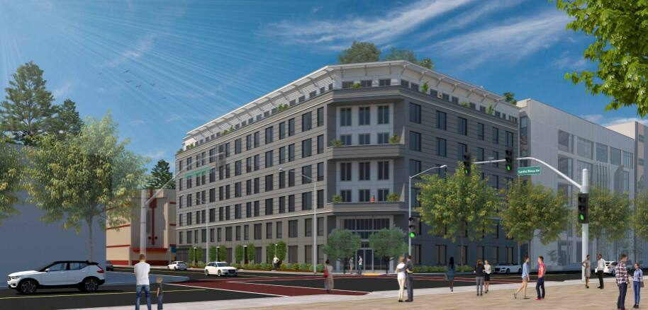A new architectural rendering of the proposed 1 Santa Rosa apartment complex just south of Old Courthouse Square. The project had a rough design review hearing in May but secured permit approval in late September, clearing the way for the developer to seek building permits. (city of Santa Rosa)