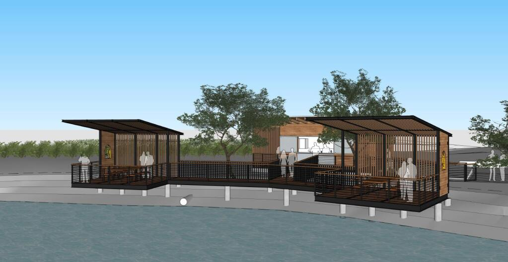 Napa Carneros winery Cuvaison plans to install VIP tasting pavilions, seen here in this architectural rendering, at its pond along the entry driveway in summer 2021. (courtesy of Cuvaison Estate Wines)