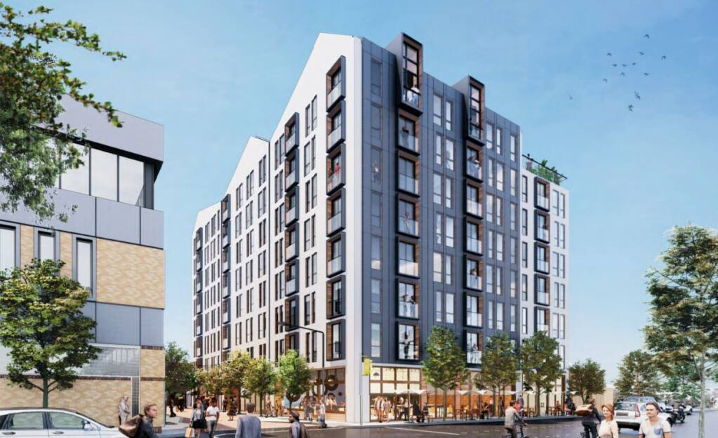 A rendering of Cornerstone Properties' proposed Ross Street development, replacing a parking lot with an eight-story apartment tower. (City of Santa Rosa)