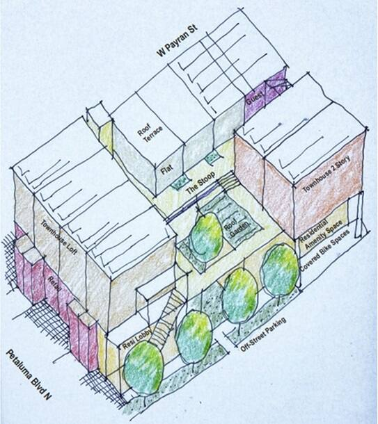 An initial plan of the development depicts the three-story cooperative project that Bay Area-native Matthew Ridgway is set to propose to the city within the next week. (MATTHEW RIDGWAY)