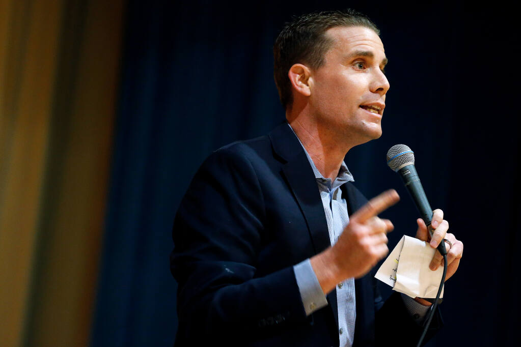 State senator Mike McGuire speaks during the local Democratic Party's biannual post-election review, hosted by Sonoma County Conservation Action at the Odd Fellows Hall in Santa Rosa, California, on Saturday, January 12, 2019. (Alvin Jornada / The Press Democrat)