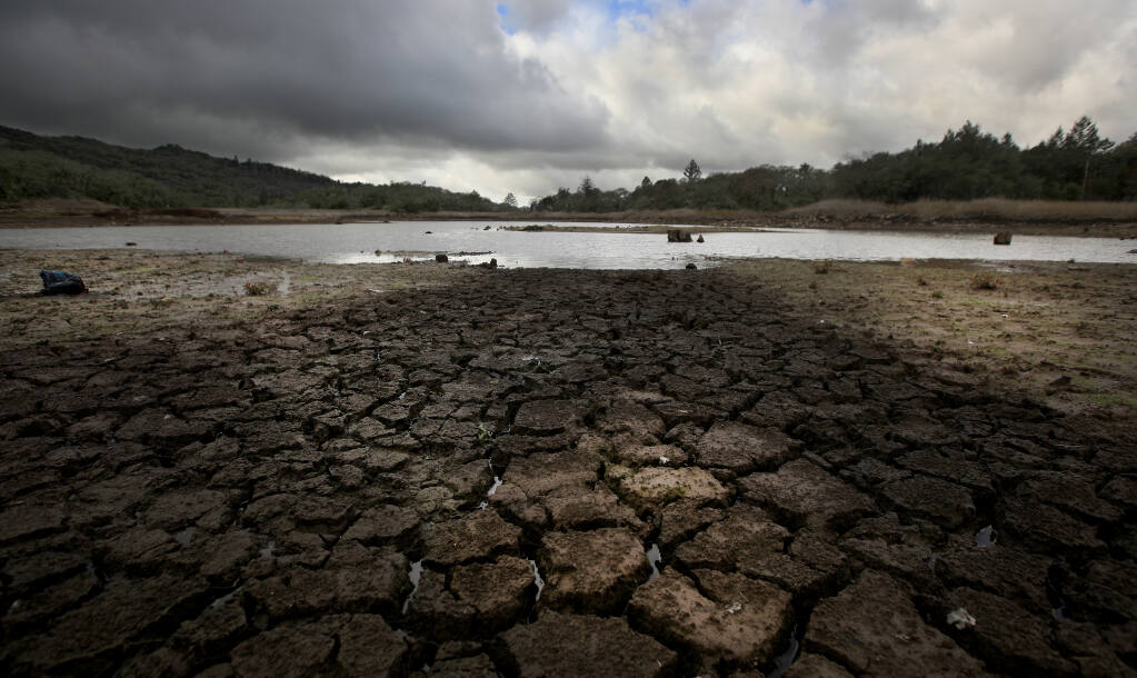 At Trione-Annadel State Park in Santa Rosa, the water level at Lake Ilsanjo remains low, Monday, Feb. 15, 2021, after the lake was drained in 2019 to make repairs to the dam. (Kent Porter / The Press Democrat) 2021