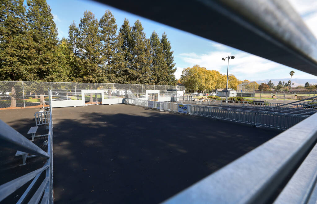 Futsal courts have been installed at Alicia Park in Rohnert Park's A Section neighborhood. (Christopher Chung / The Press Democrat)