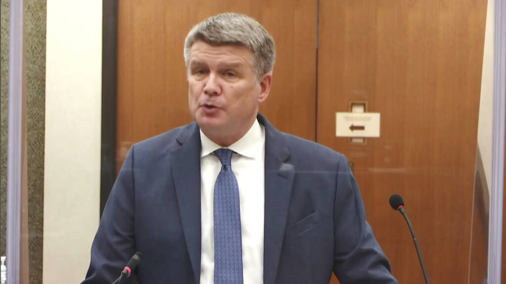 In this image taken from video, prosecutor Matthew Frankinterviews witness Senior Special Agent James Reyerson of the Minnesota Bureau of Criminal Apprehension as Hennepin County Judge PeterCahill presides Wednesday, April 7, 2021, in the trial of former Minneapolis police Officer Derek Chauvin at the Hennepin County Courthouse in Minneapolis. Chauvin is charged in the May 25, 2020 death of George Floyd. (Court TV via AP, Pool)