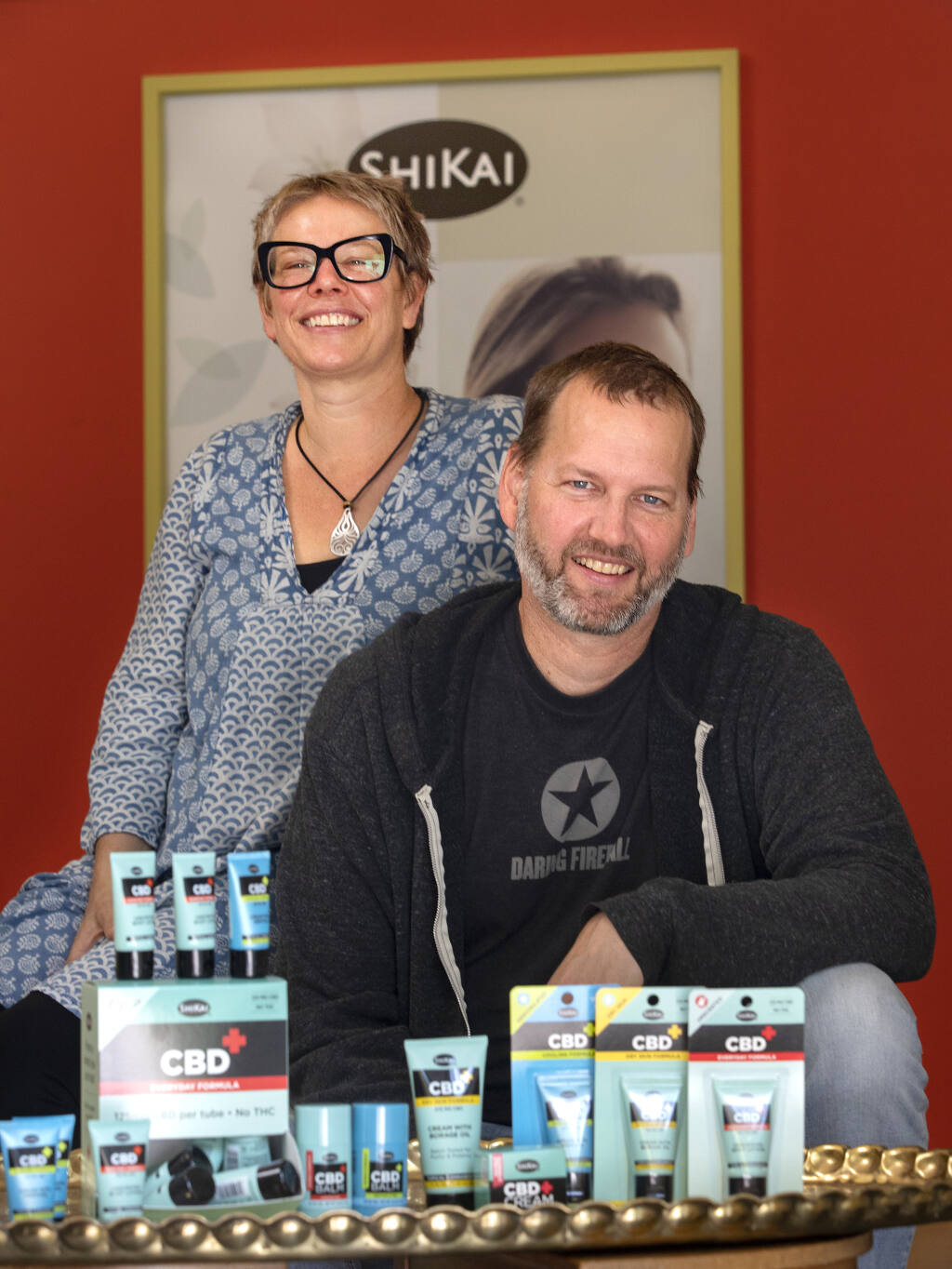 ShiKai President Jason Sepp and his sister and VP, Hilary Sepp, continue innovating the company their father started five years ago with a line of CBD topical balms and creams. Photo taken on Aug. 26, 2020. (John Burgess / The Press Democrat)