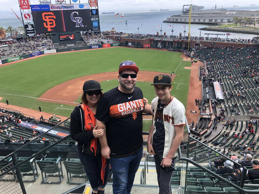 Mahrya, Michael and Evan Mirante enjoy a San Francisco Giants game in 2019. (Mirante family)
