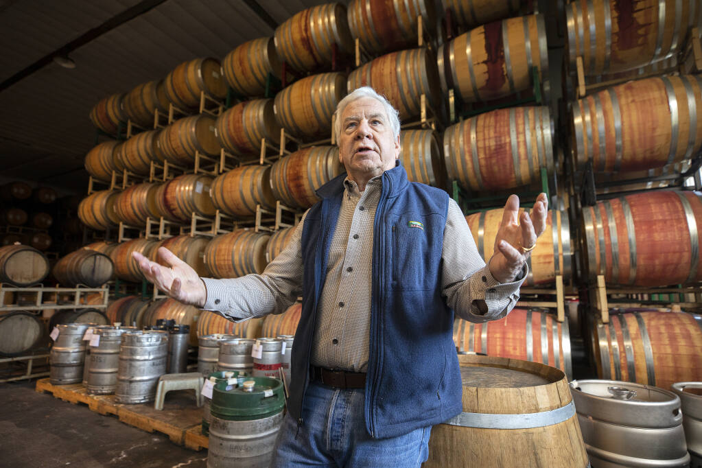 Taft Street Winery founder Mike Martini says the costs of proposed State Water Board winery wastewater rules could cost up to $500,000 to bring the old Sebastopol apple processing facility into compliance. Photo taken on Friday, Jan. 22, 2021.  (John Burgess/The Press Democrat)