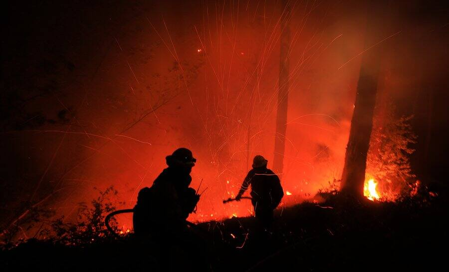 A flare-up on the Glass fire just below Highway 29 on Mount St. Helena, Thursday, Oct. 1, 2020. (Kent Porter/The Press Democrat)