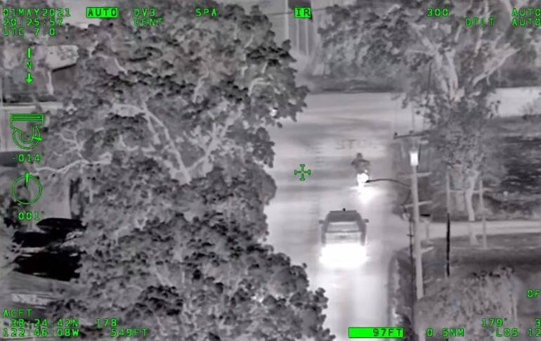A screenshot from Henry 1 video showing the pursuit Saturday, May 1, 2021. (Sonoma County Sheriff's Office / Facebook)