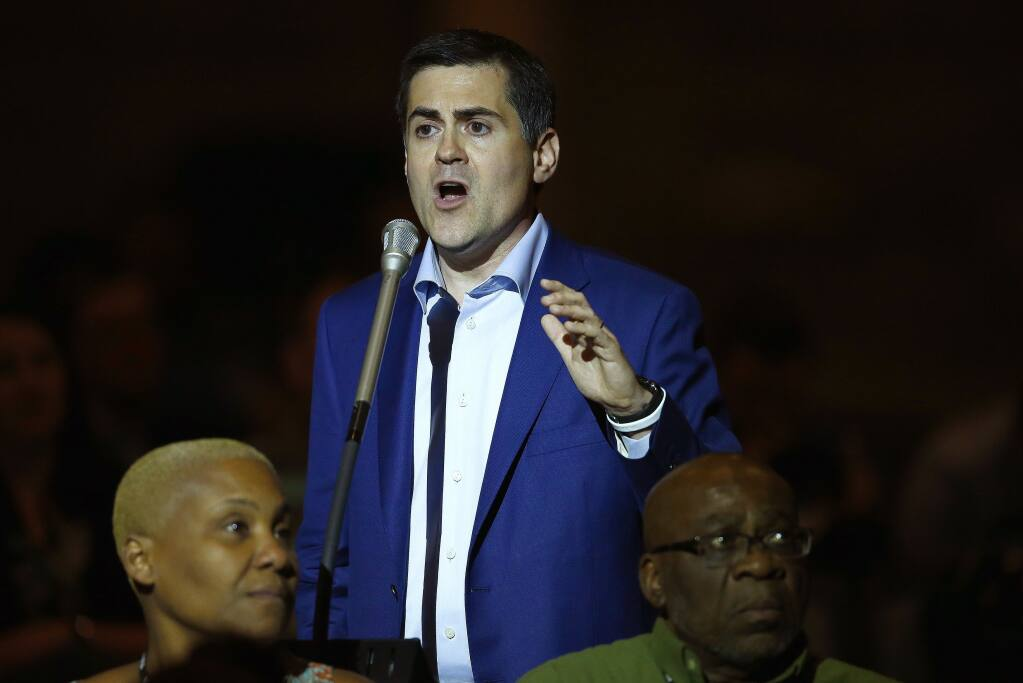 """FILE - In this Wednesday, June 14, 2017, file photo, Russell Moore, president of the Ethics & Religious Liberty Commission, speaks at the Southern Baptist Convention annual meeting in Phoenix. In May 2021, Moore, the longtime point person for the Southern Baptist Convention on public policy, resigned from his post as president of the Ethics and Religious Liberty Commission. That was soon followed by leaks of lengthy letters he had written in 2020 and in May, describing the """"undiluted rage"""" he received from Executive Committee leaders as they debated how to respond to abuse, which he called a """"crisis in the Southern Baptist Convention."""" (AP Photo/Ross D. Franklin, File)"""