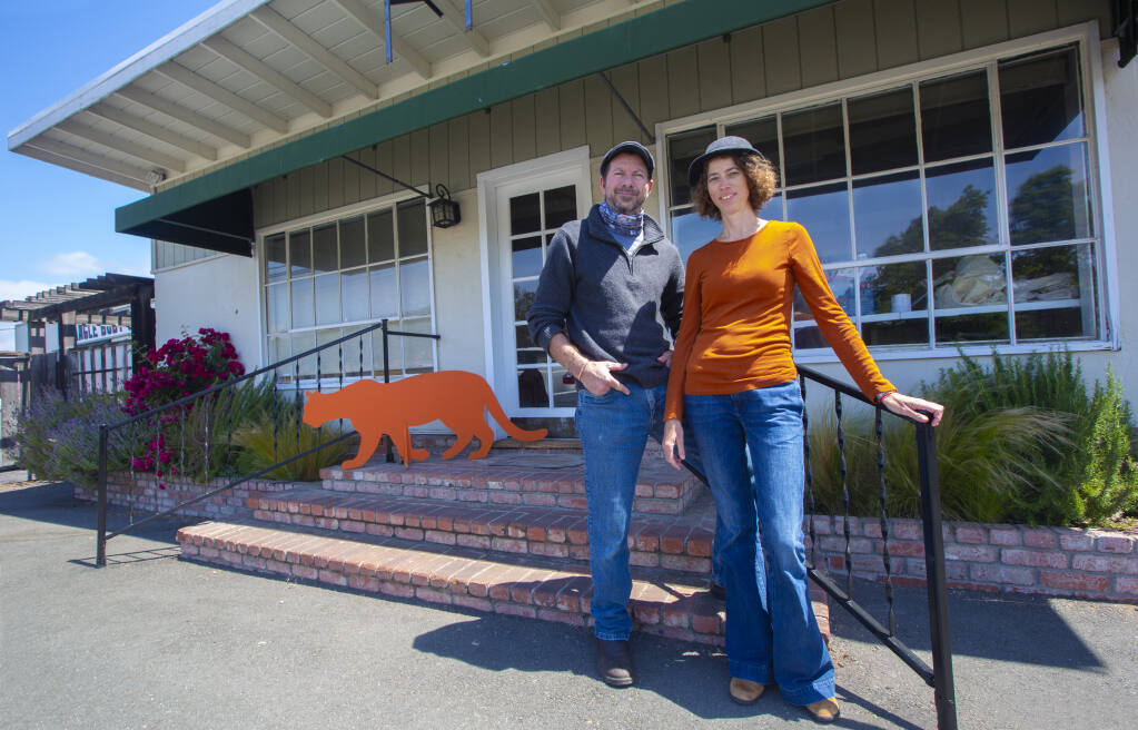 Mountain lion experts Quinton and Elizabeth Martins, shown here May 17 at their new research center and public information center on Highway 12, across from Sonoma Valley Regional Park. (Photo by Robbi Pengelly/Index-Tribune)