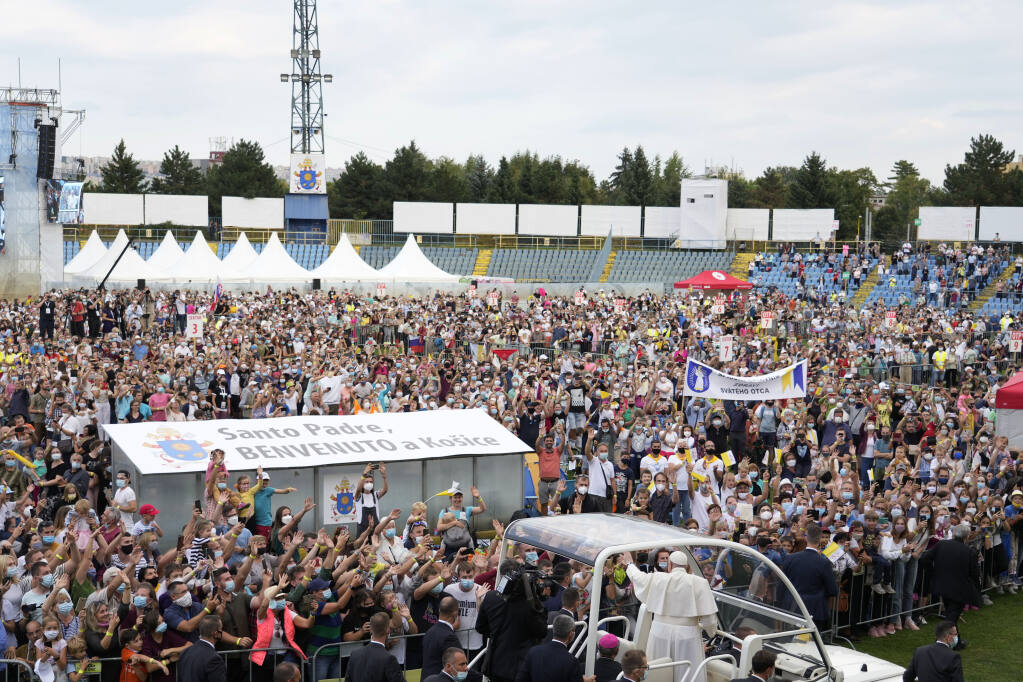 Pope Francis meets with young people atLokomotivaStadium inKošice, Slovakia, Tuesday, Sept. 14, 2021. Francis first trip since undergoing intestinal surgery in July, marks the restart of his globetrotting papacy after a nearly two-year coronavirus hiatus. (AP Photo/Gregorio Borgia)