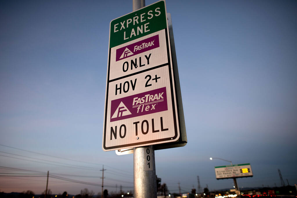 Carpooling in California express lanes is limited to a driver and a sole passenger during the coronavirus pandemic. (Noah Berger).