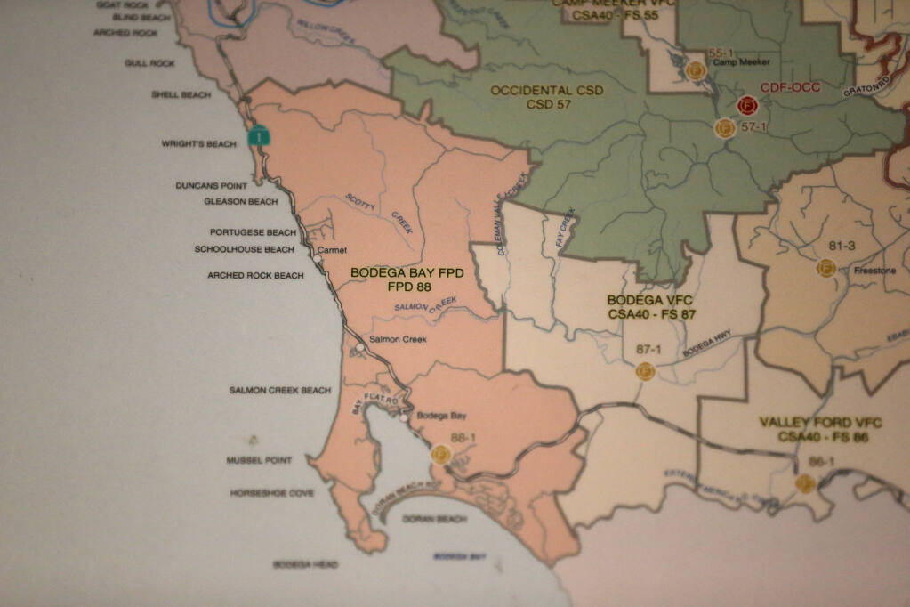 A map showing the Bodega Bay Fire Protection District on the wall at the station in Bodega Bay on Wednesday, Dec.11, 2019. (Beth Schlanker/ The Press Democrat, 2019)