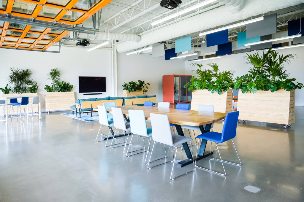 The Sky Lounge in SOMO Village in Rohnert Park is furnished to work in indoor comfort supported by a kitchen and ample space between small groups. It is also a place where the public can listen to summer concerts. (Courtesy Photo 2020)